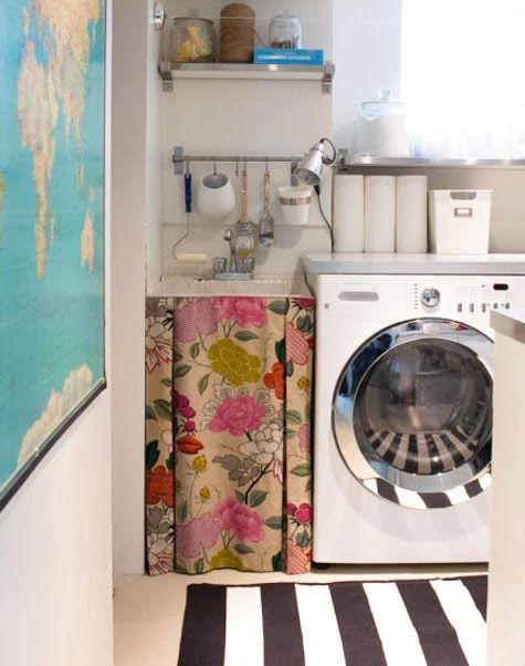 Floral fabric in the laundry room from Sarah Hartill