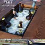 Build A Patio Outdoor Dining Table With Benches And Drink Troughs, Remodelaholic