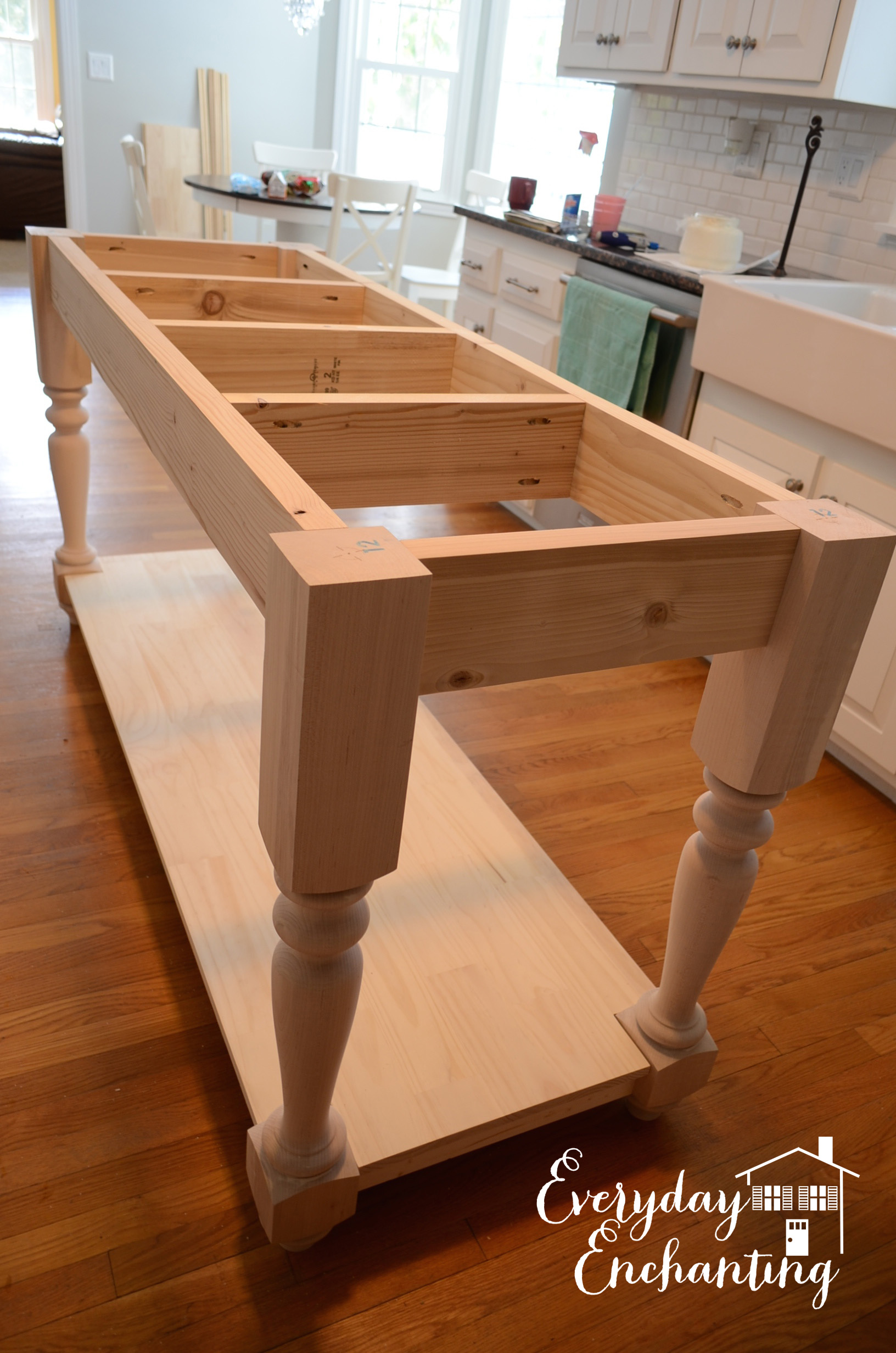 Uncategorized How To Build A Kitchen Island remodelaholic white kitchen overhaul with diy marble island building the base everyday enchanting on remodelaholic