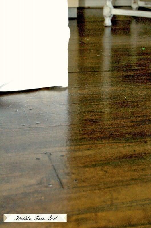 Remodelaholic Faux Wood Plank Floors Using Brown Paper - Faux wood floor plywood flooring