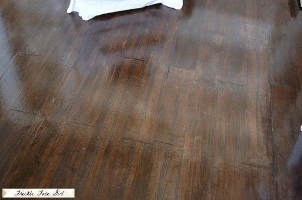 DIY faux wood flooring, brown paper bag floor with faux wood planks