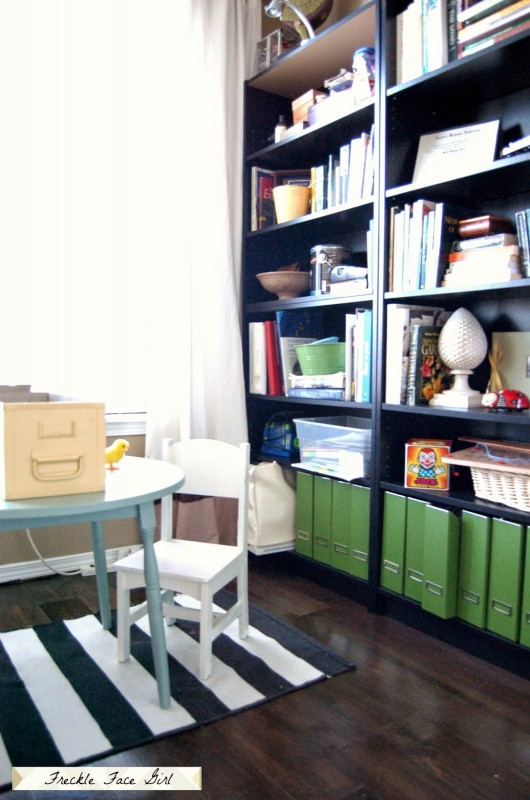 faux wood plank flooring in office, Freckle Face Girl for Remodelaholic