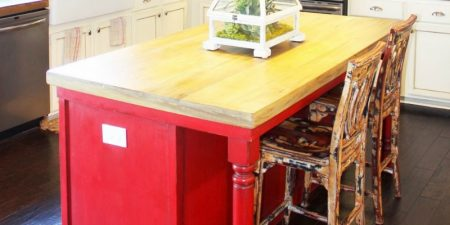 feature white rustic kitchen with faux reclaimed wood countertop, The Ragged Wren on Remodelaholic