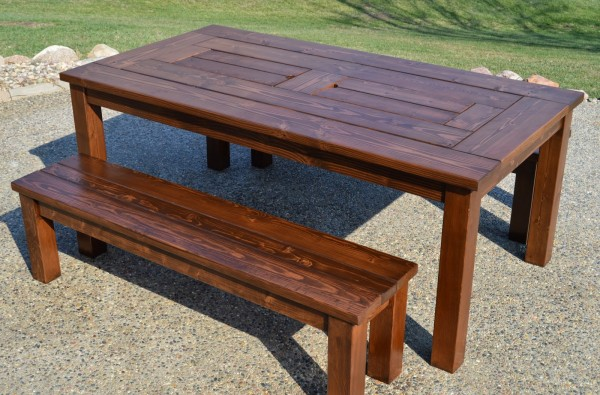 finished patio table iwth built-in drink coolers and benches, Kruse's Workshop on Remodelaholic