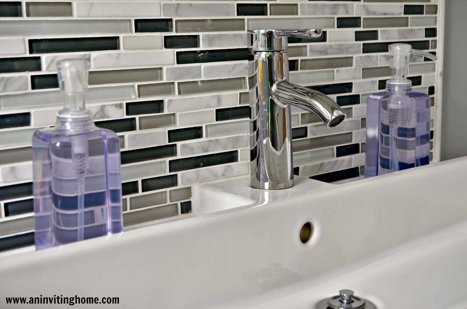 Beautiful glass tile backsplash and IKEA trough sink An Inviting Home on Remodelaholic