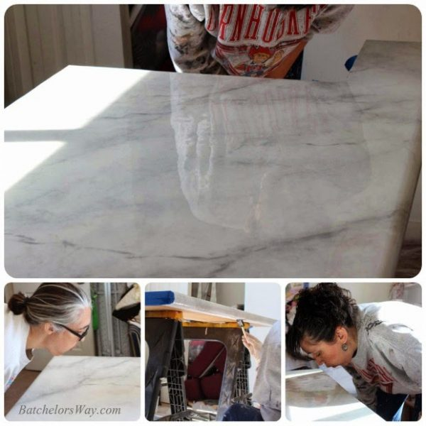 Amazing Glossy Faux Marble Countertop Tutorial, Batchelors Way On Remodelaholic