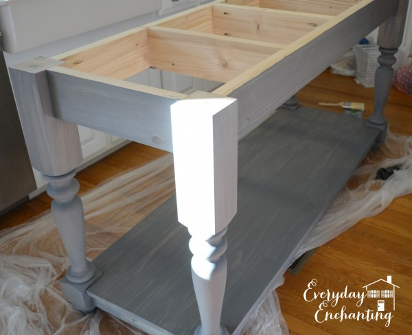 gray stained kitchen island, Everyday Enchanting on Remodelaholic