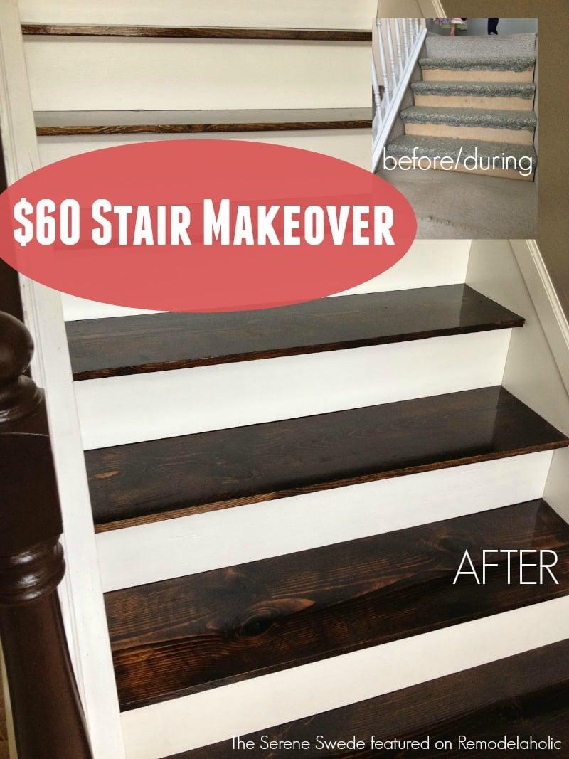 Remodelaholic | $60 Carpet to Hardwood Stair Remodel