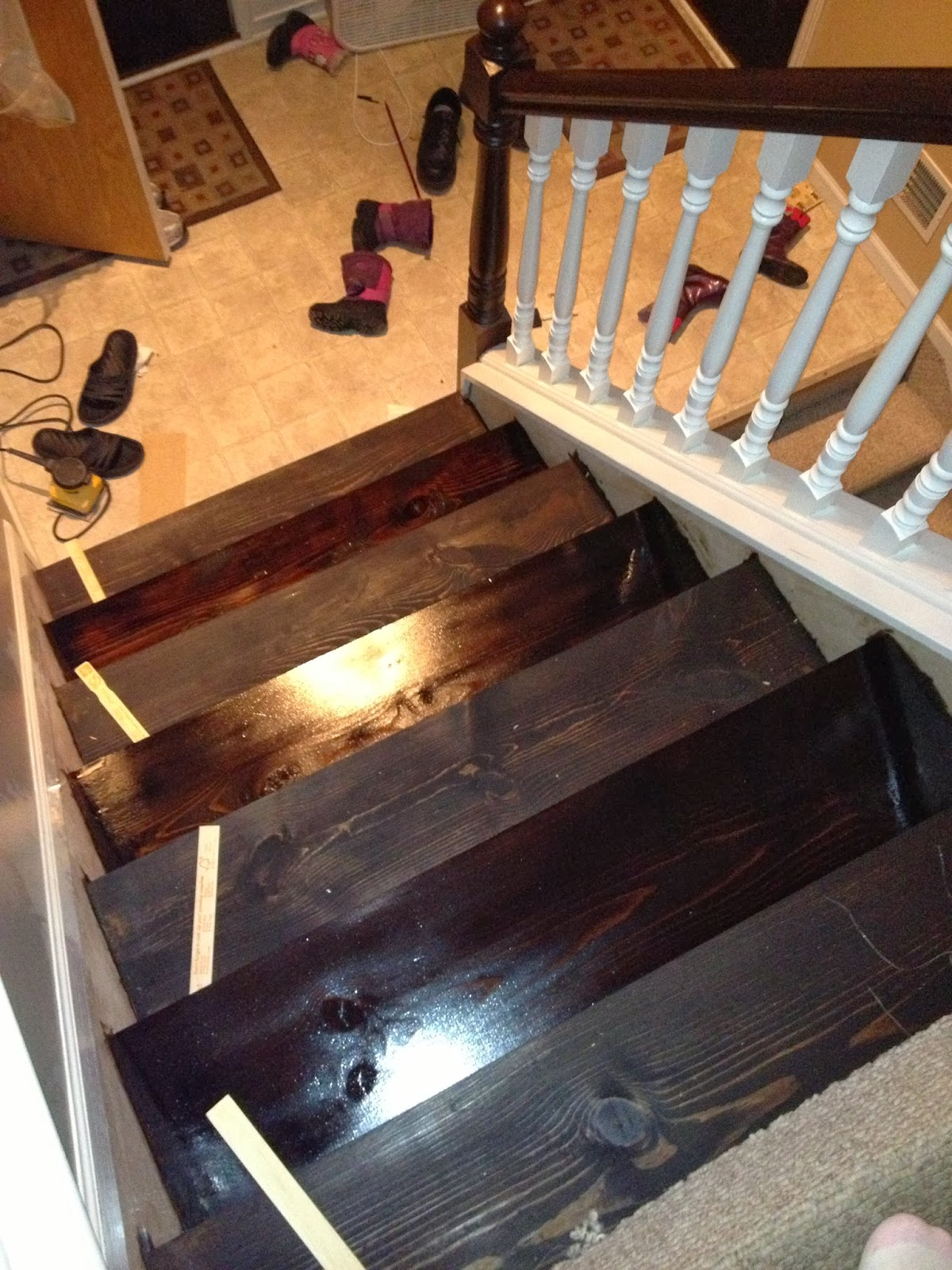 It Also Helps To Place An Object On The Stairs That Donu0027t Have Fresh Stain  On Them In Order To Remember Which Ones Are Wet!!