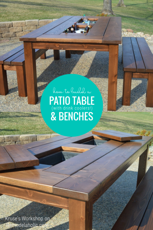 How To Build A Patio Dining Set With Drink Coolers, Table And Benches, Remodelaholic