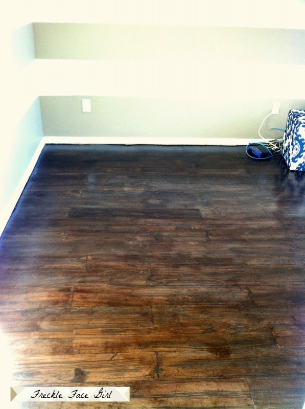 Fake Hardwood Floors remodelaholic | faux wood plank floors using brown paper