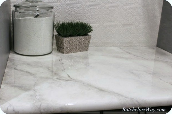how to paint a faux marble finish countertop, Batchelors Way on Remodelaholic
