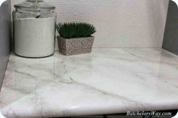 How To Paint A Faux Marble Finish Countertop Batchelors Way On Remodelaholic