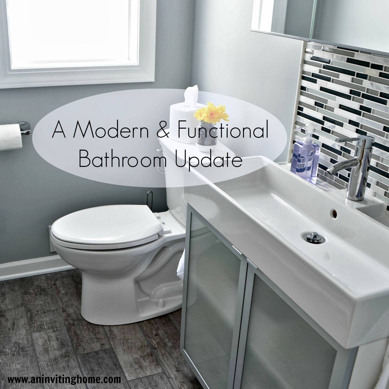 Nice modern and functional bathroom update An Inviting Home on Remodelaholic
