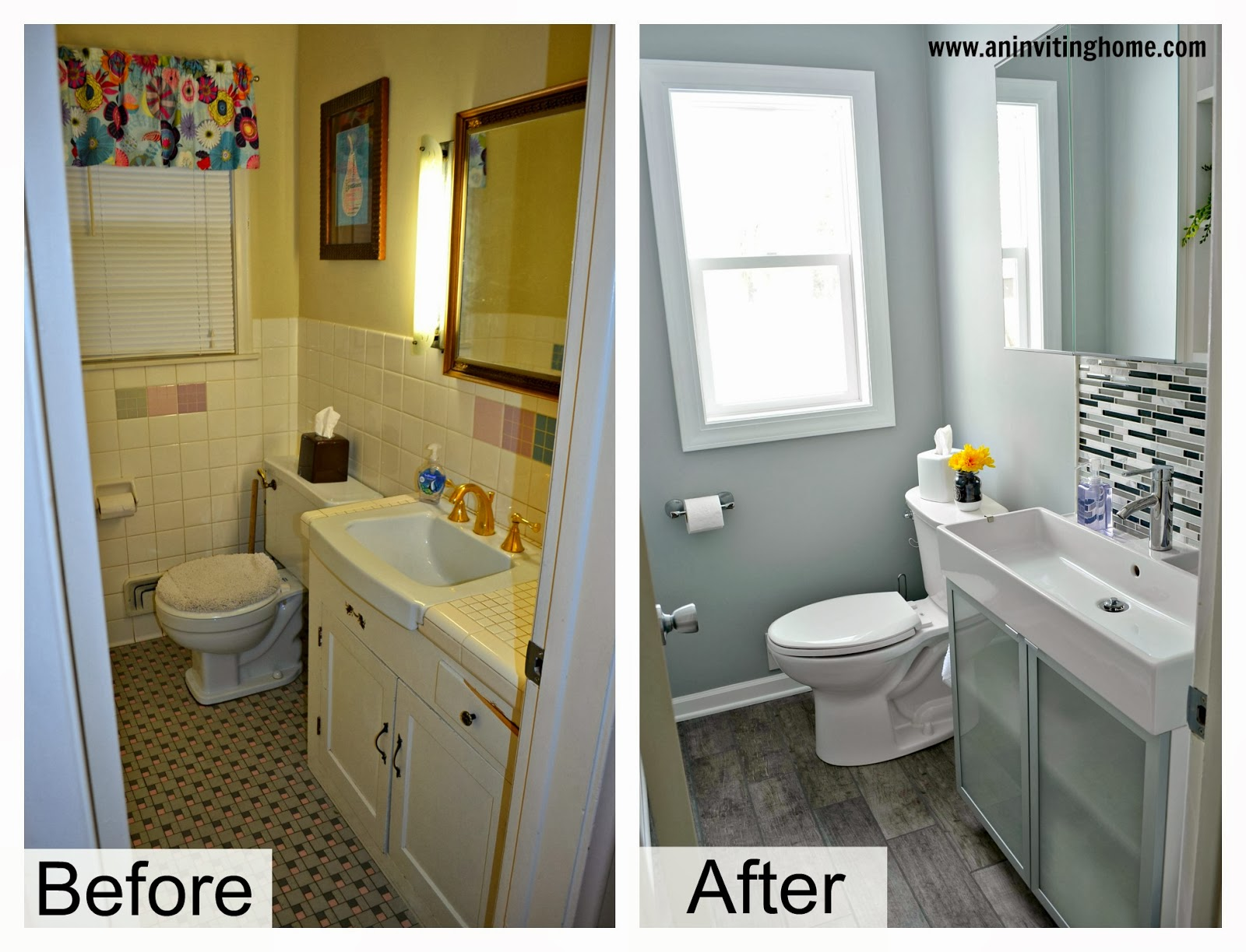 Remodelaholic modern bathroom update - Before and after small bathroom remodels ...