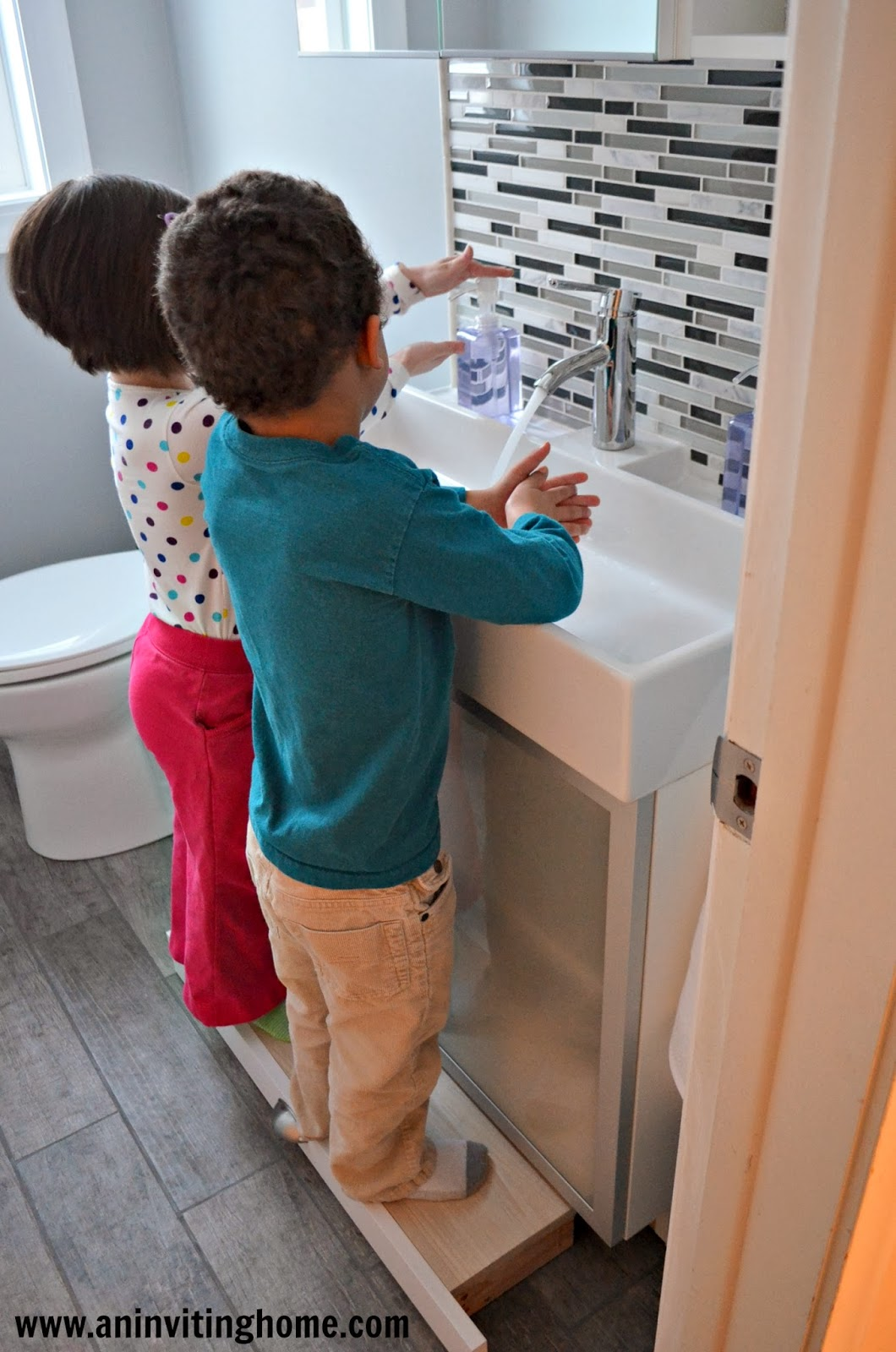 Remodelaholic modern bathroom update Bathroom step stool for kids