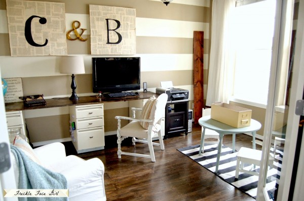 office with decoupaged brown paper faux wood plank floor, Freckle Face Girl for Remodelaholic