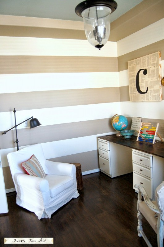 office with decoupaged wood plank floor, Freckle Face Girl for Remodelaholic