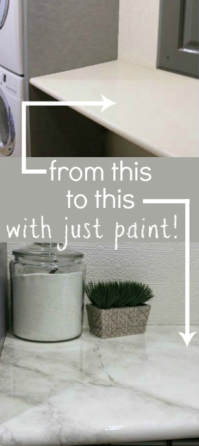 Amazing Tutorial    Paint Your Own Faux Marble Countertops! #remodelaholic