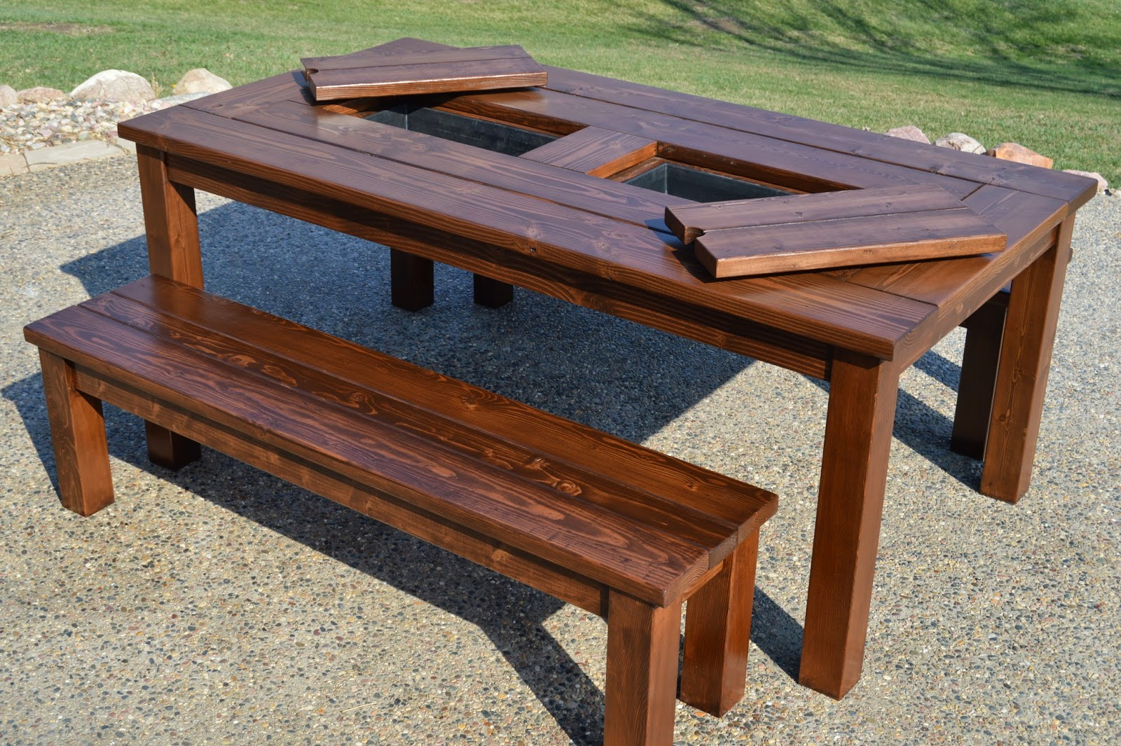 Patio Table Witih Built In Drink Coolers Kruse S Work On Remodelaholic
