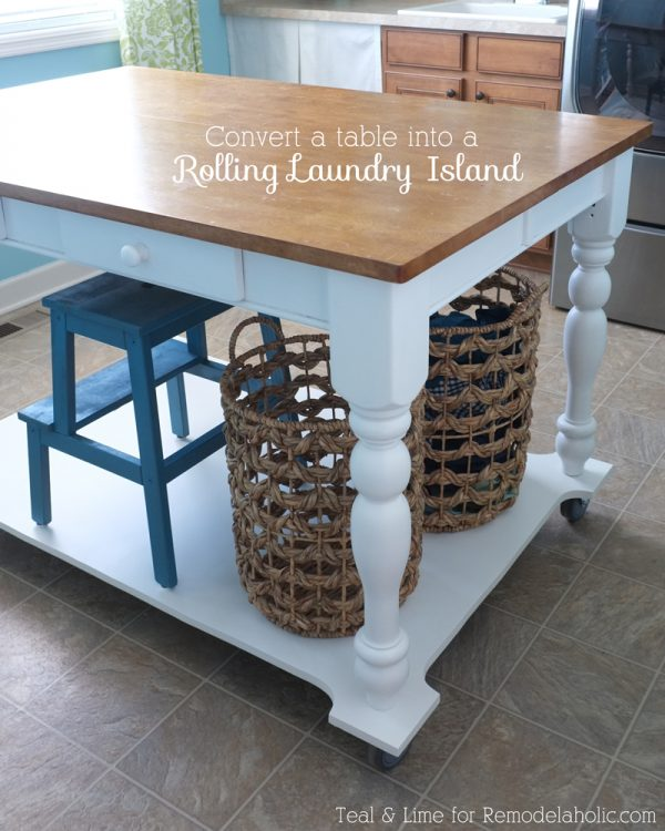 How to Turn a Table into a Rolling Island | Teal & Lime for remodelaholic.ocm