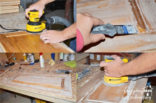 sanding and painting kitchen cabinets, Everyday Enchanting on Remodelaholic
