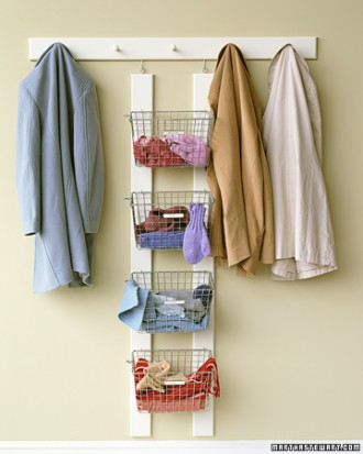 simple mudroom organizer, via Martha Stewart
