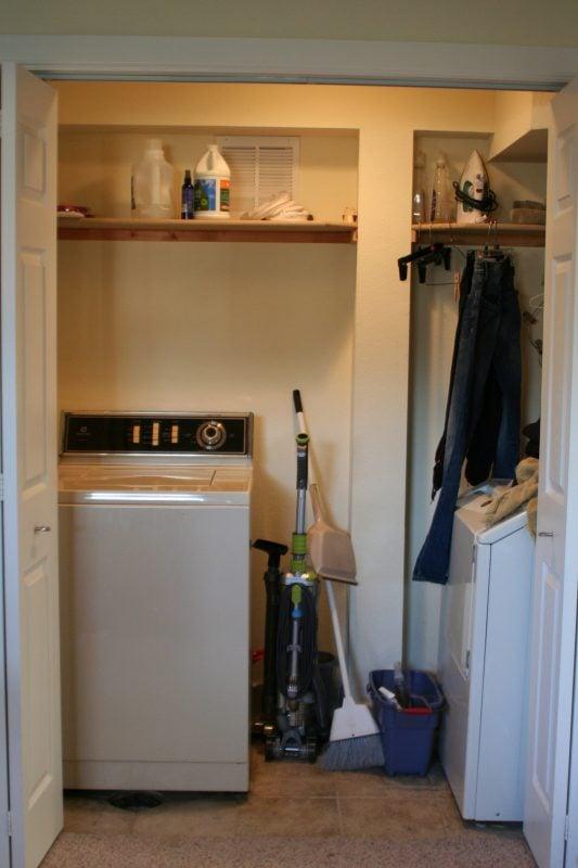 small laundry room makeover before, Love Melinda on Remodelaholic
