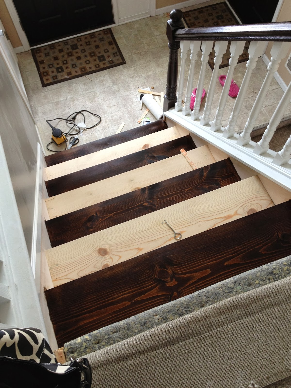 Redo Stairs Cheap Remodelaholic 60 Carpet To Hardwood Stair Remodel