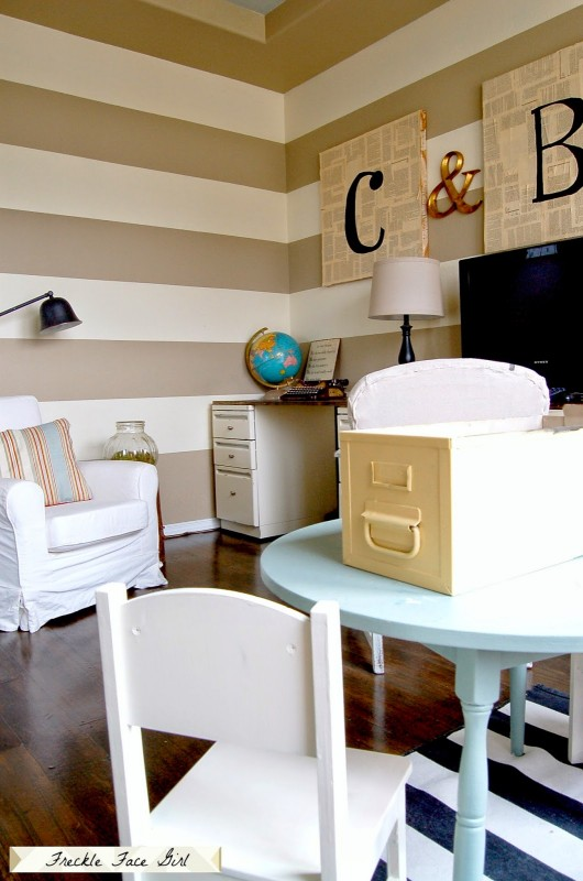 striped office with faux wood plank floor, Freckle Face Girl for Remodelaholic