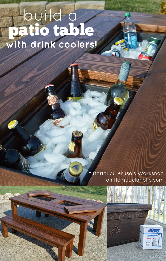 remodelaholic build a patio table with built in ice boxes. Black Bedroom Furniture Sets. Home Design Ideas