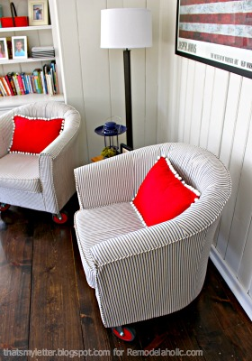 These tub chairs are a great addition to our family room space and the wheels make them fun and completely mobile for additional seating where ever we need ... & How To: Reupholster a Tub Chair | Remodelaholic | Bloglovinu0027