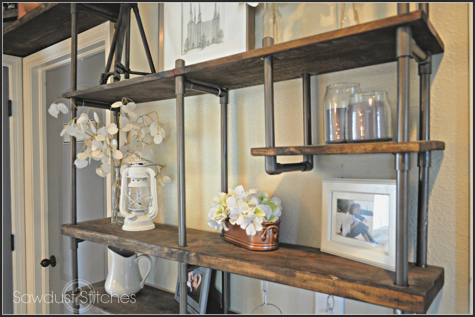 remodelaholic build a budget friendly industrial shelf using pvc pipe. Black Bedroom Furniture Sets. Home Design Ideas