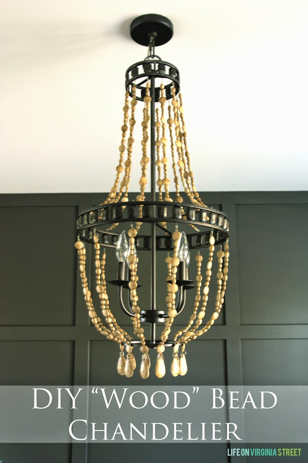 Home office makeover with diy wood bead chandelier remodelaholic so i schemed about how i could create the wood bead chandelier i dreamed of i knew the light fixture would be critical to the design of the room arubaitofo Gallery