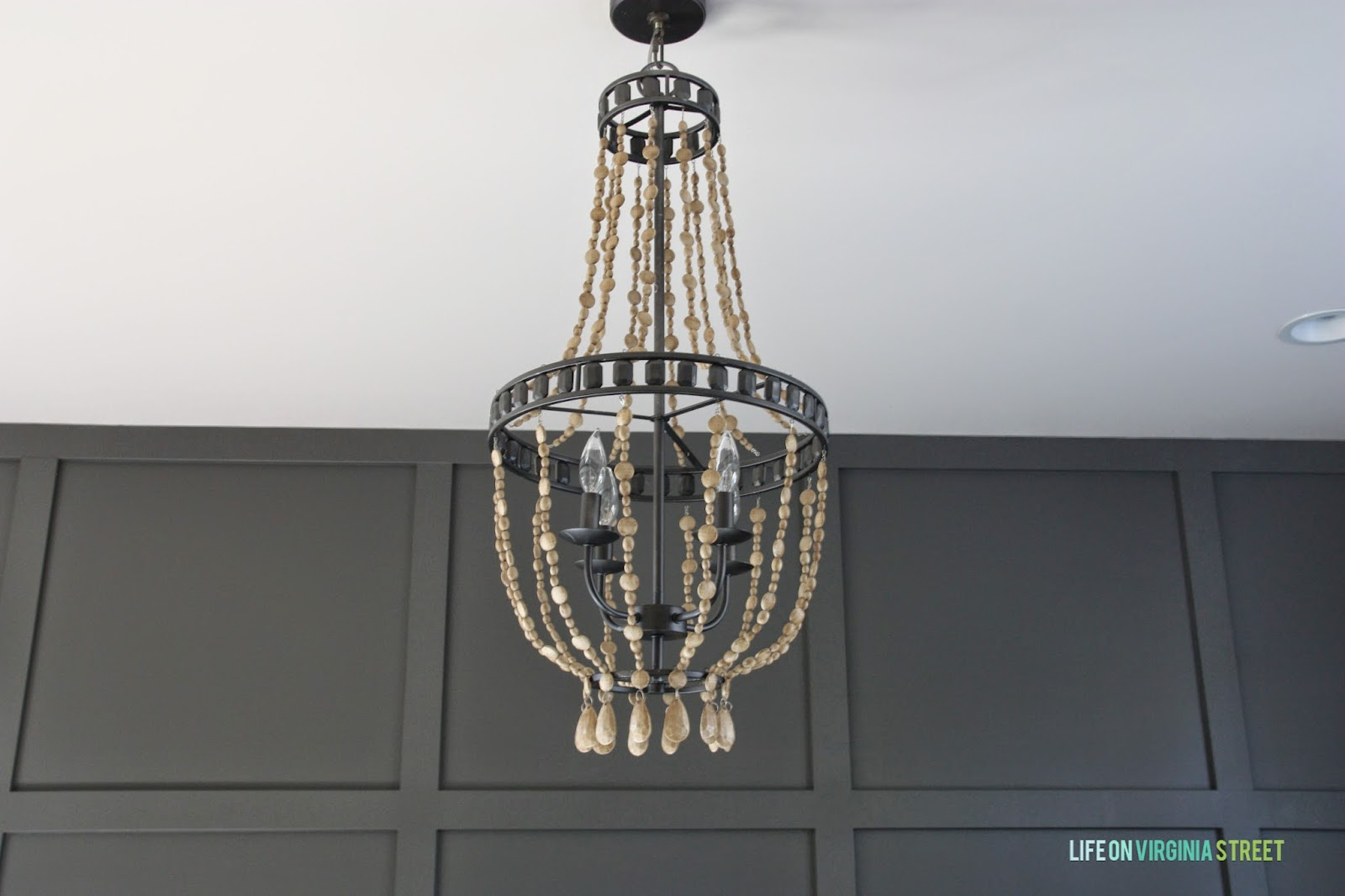 Remodelaholic home office makeover with diy wood bead chandelier diy chandelier with faux wooden beads life on virginia street on remodelaholic arubaitofo Image collections