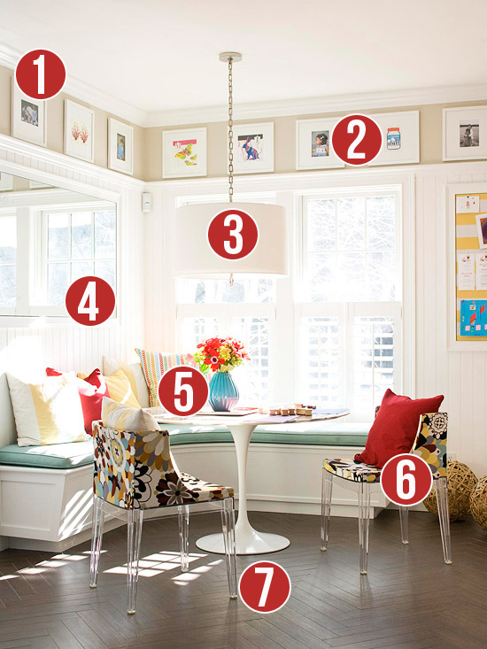 7 Tips for a Corner Banquette and Art Gallery from Remodelaholic.com #getthislook