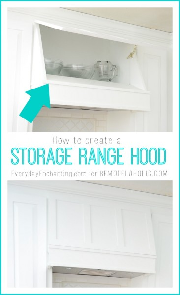 How to create a Custom Storage Range Hood via @Remodelaholic #kitchenstorage #whitekitchen #DIYkitchen #rangehood
