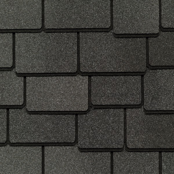 Close up photo of GAF's Woodland Castlewood Gray shingle swatch