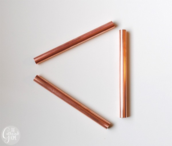assemble pipe triangles for geometric copper pipe pendant light, The Gathered Home on Remodelaholic