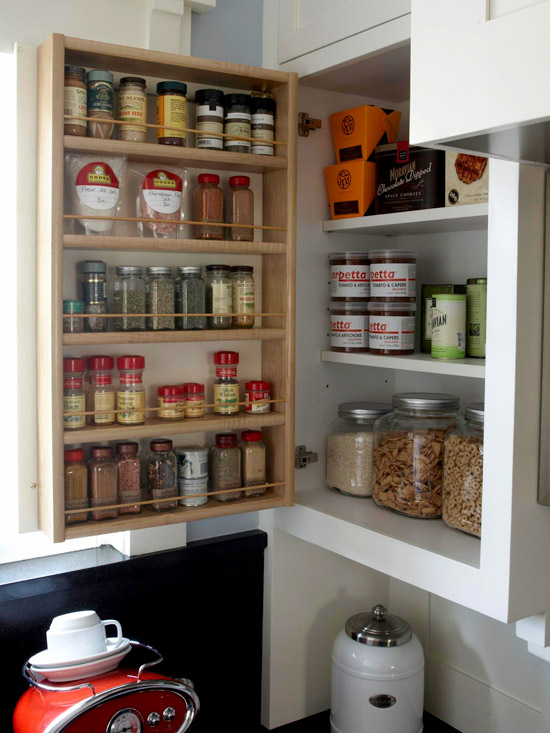 back of cabinet door spice organizer via bhg