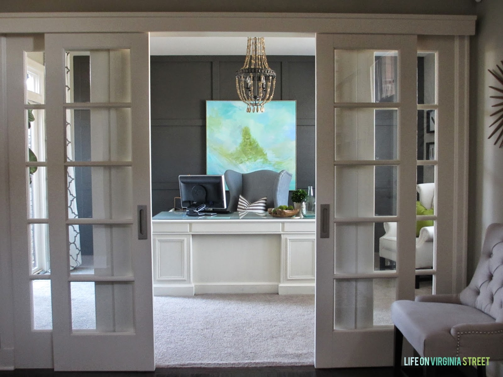 Remodelaholic home office makeover with diy wood bead for Pictures of home offices