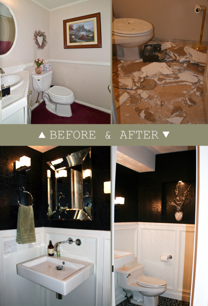 black and white powder room makeover