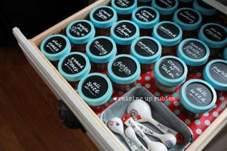 chalkboard spice jars, Raising Up Rubies on IHeart Organizing