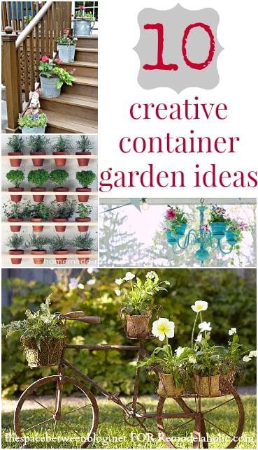10 Creative Container Garden Ideas   TheSpaceBetweenBlog.net for Remodelaholic.com #gardening #plants