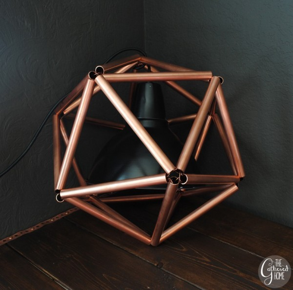 copper pipe icosahedron geometric pendant light tutorial, The Gathered Home on Remodelaholic