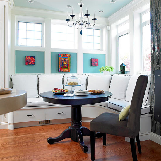 corner banquette with art panels