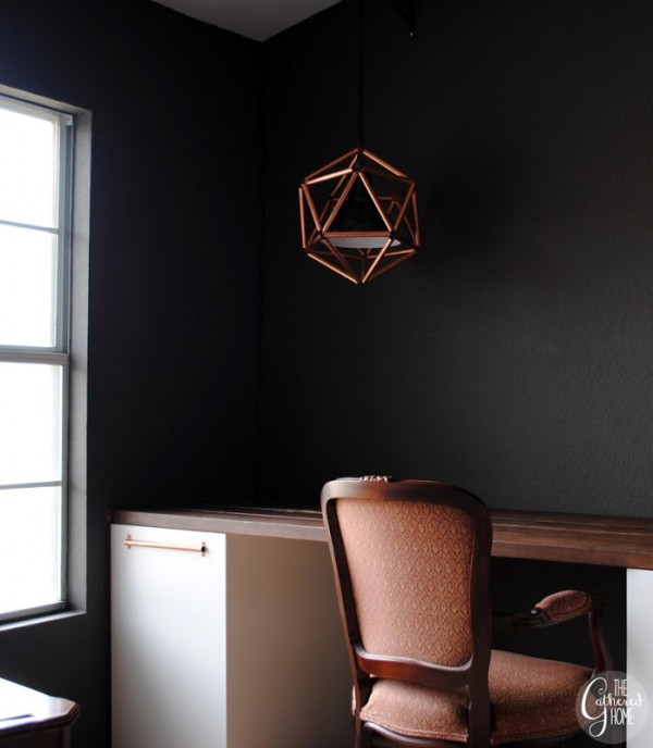 diy copper pipe geometric pendant light, The Gathered Home on Remodelaholic