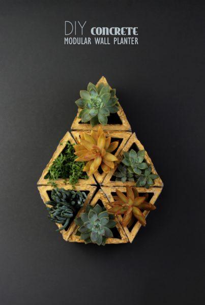 diy modular geometric concrete planter, A Piece of Rainbow on Remodelaholic