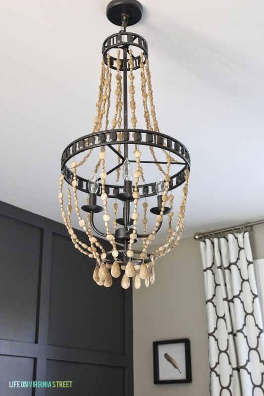 Fabulous Painted Wood Bead Chandelier diy wood bead chandelier tutorial Life on Virginia Street on Remodelaholic