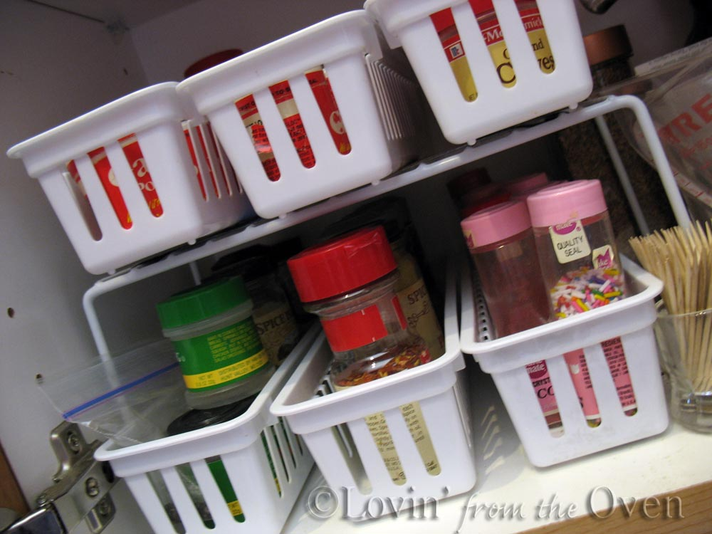 Dollar Store Baskets And Wire Rack To Organize Spices, Frieda Loves Bread